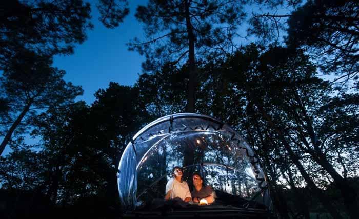 Dormir dans une bulle dans les arbres