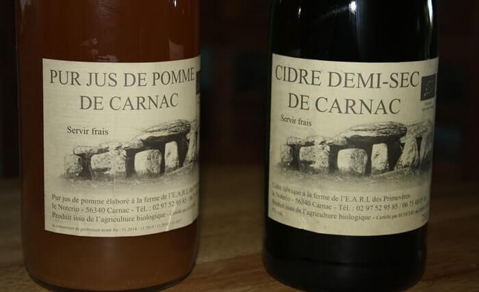 Cidre et jus de pomme bio de Carnac.