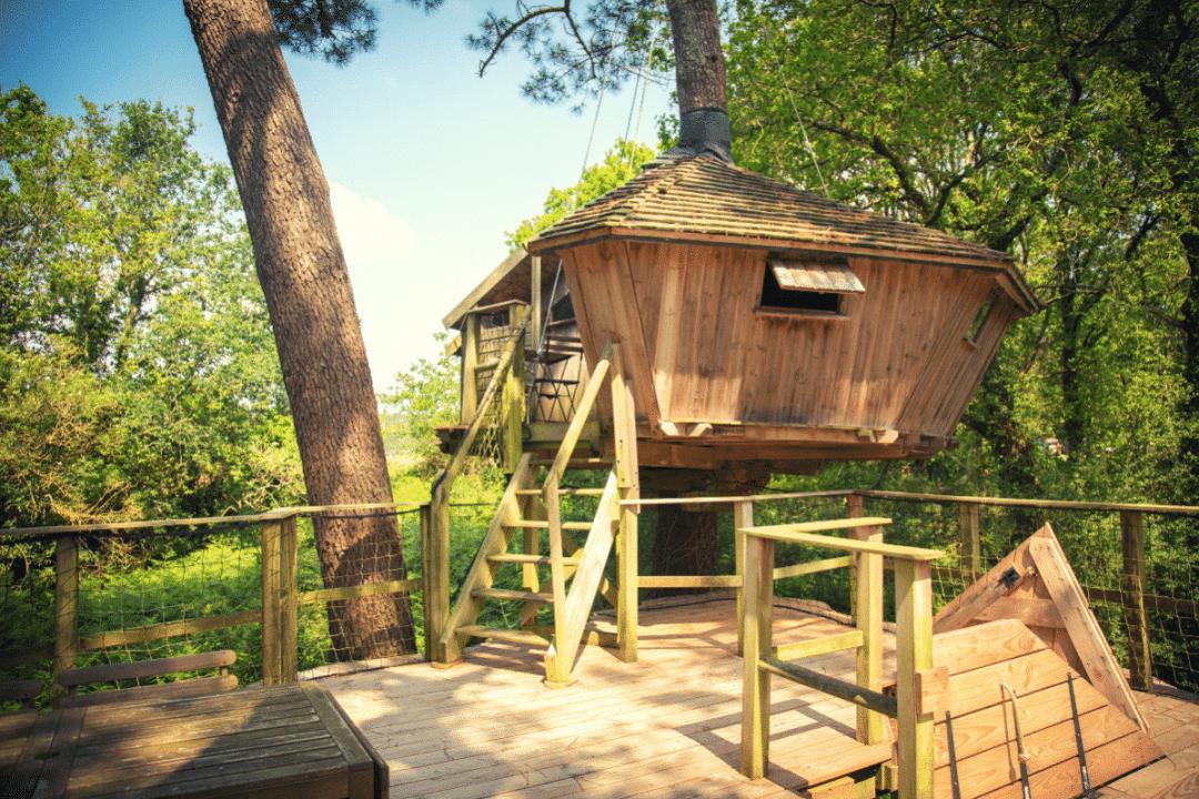 Cabane dans les arbres bretagne baman
