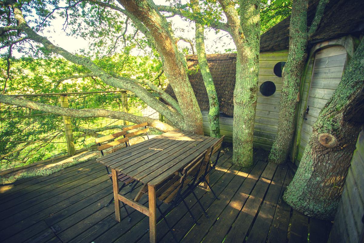 Grande terrasse de la cabane perchées dans les arbres de Diah en bretagne